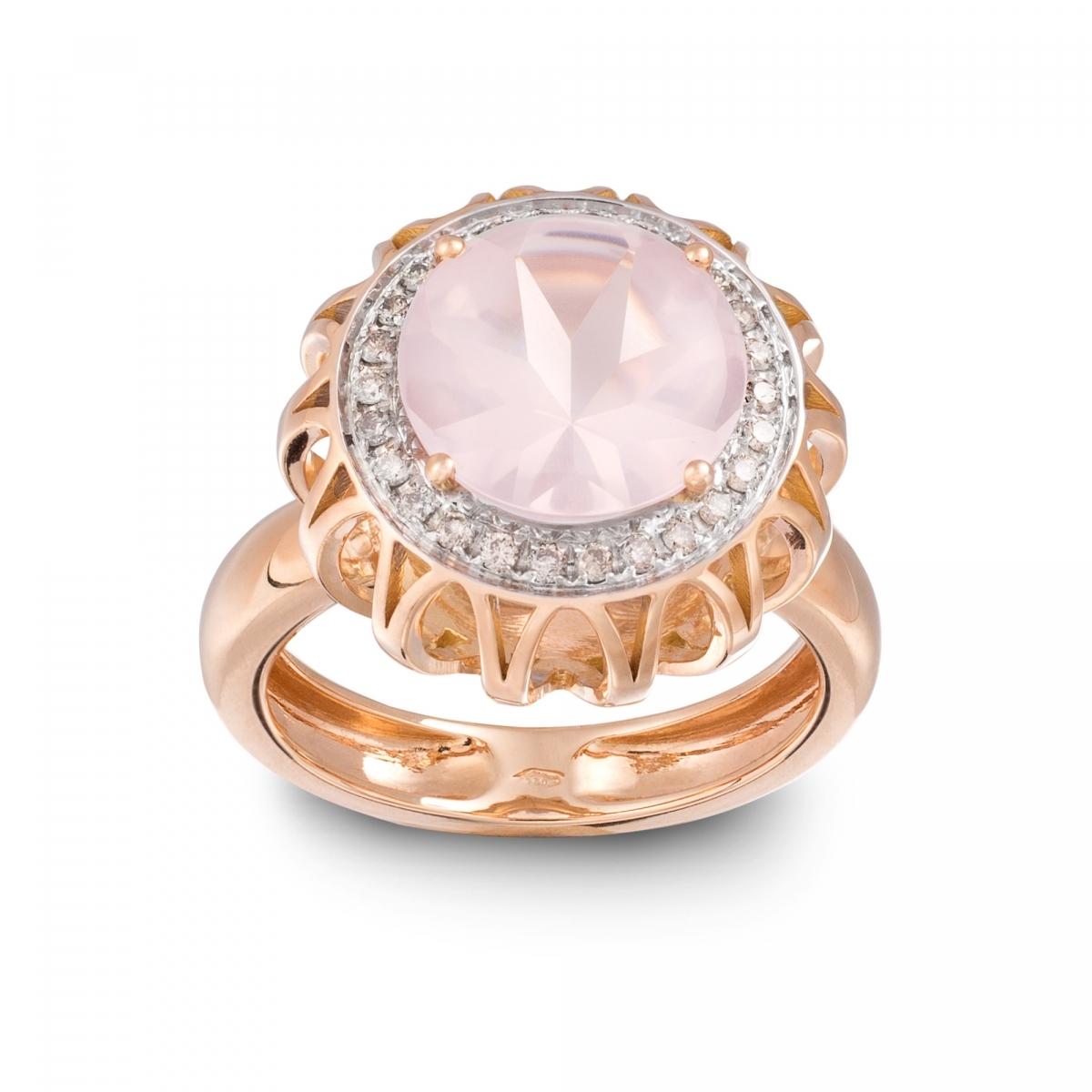 Extrêmement Anelli in oro rosa con diamanti,quarzo > Anello Quarzo Rosa, Oro  OY28