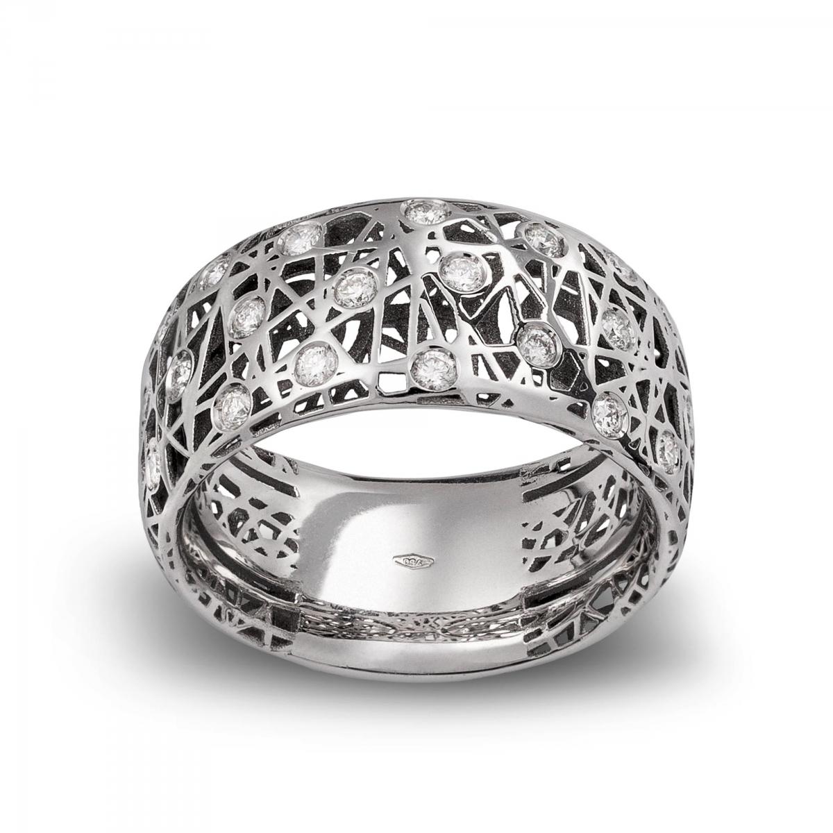 Préférence Anelli in oro bianco con diamanti > Anello fascetta alto  IL47